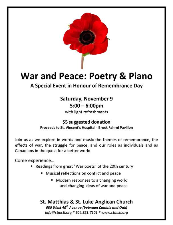 Remembrance Day Poetry And Piano Anglican Diocese Of New