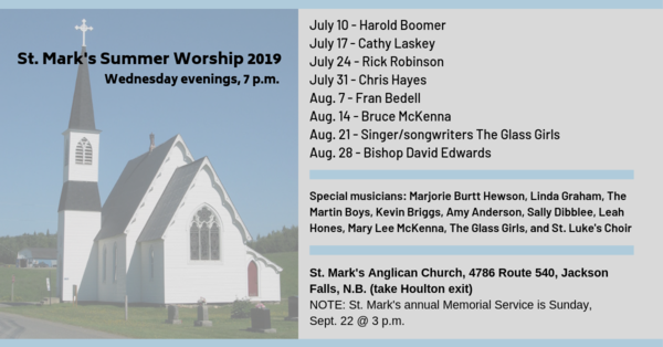 St. Marks Wednesday summer services - Jackson Falls, Parish of Richmond