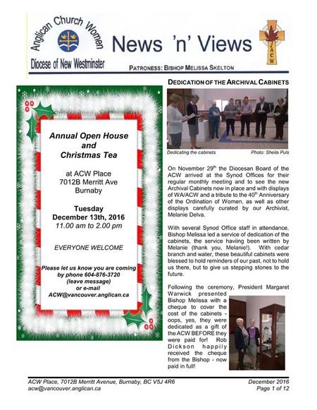 December 2016 ACW Newsletter News 'n' Views