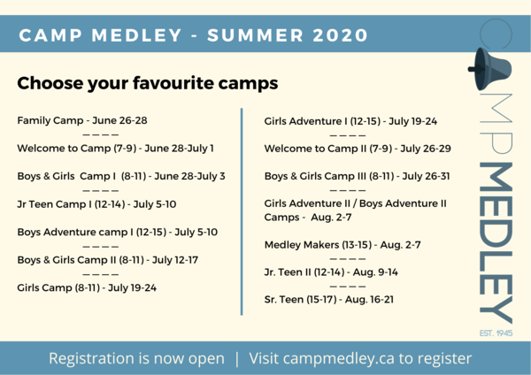 Check out Camp Medley's summer schedule