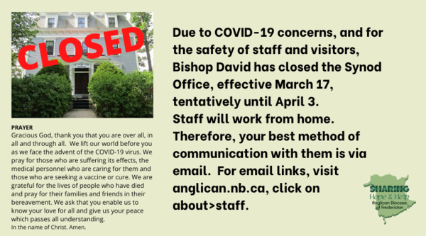 Synod Office is closed