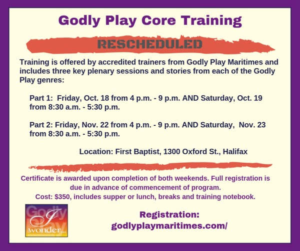 Godly Play fall training - rescheduled!