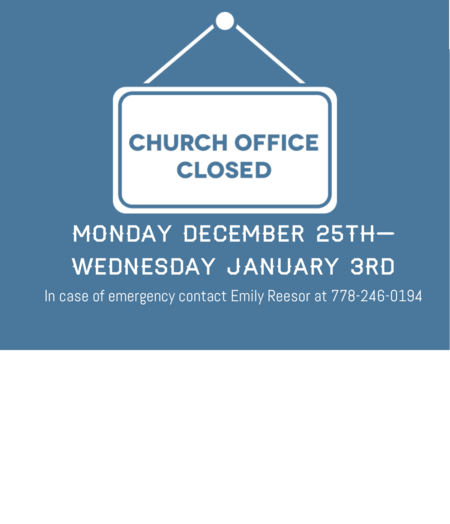 Church Office Closed Dec 25-Jan 3