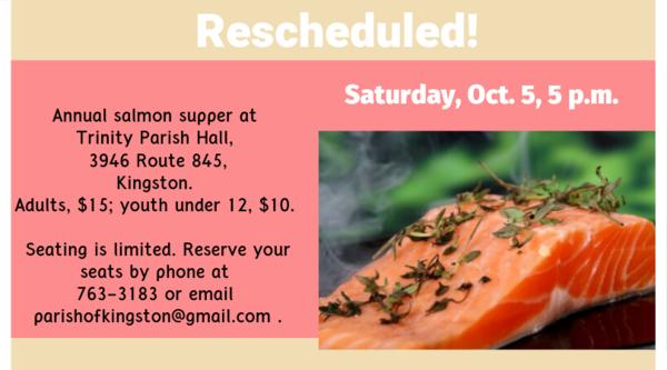 Salmon supper rescheduled