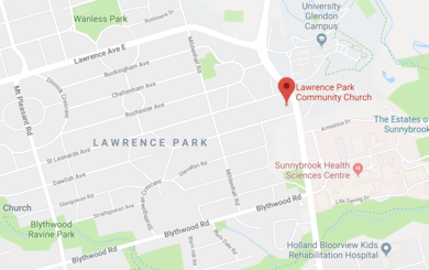 Map to Lawrence Park Community Church in North York, ON