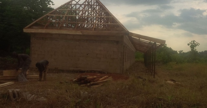 Roof trusses up on Gilgal school building image