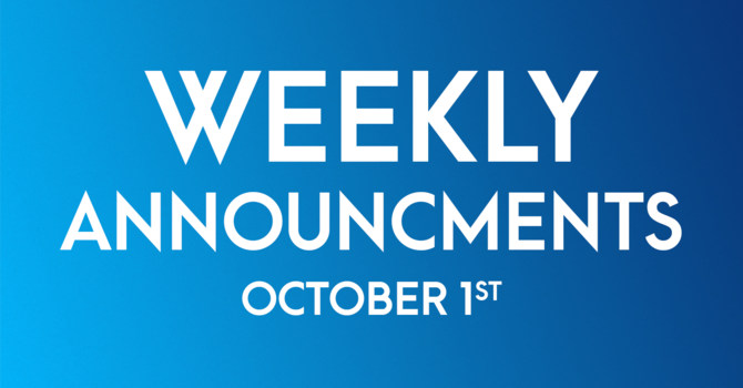 Weekly Announcements - October 1st image