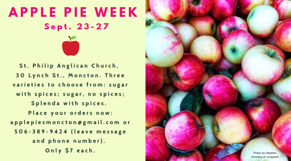 Apple pie week coming right up in Moncton!