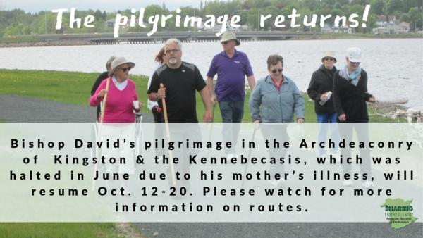 Bishop's pilgrimage, Part II, begins this weekend