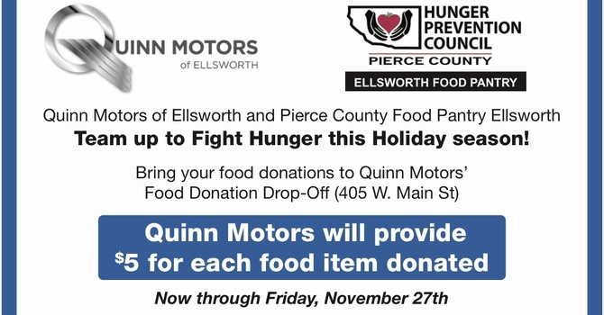 Bring your food donations to Quinn Motors of Ellsworth through December 11 image