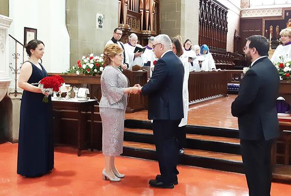 Bishop marries long-time friend