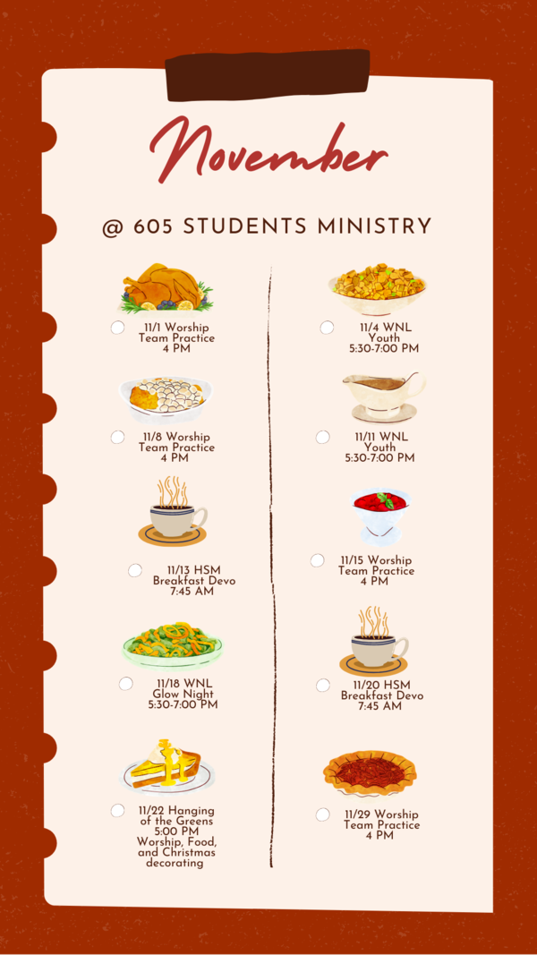 605 Student Ministry Events November 2020