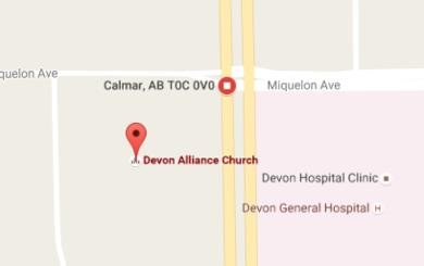 Map to Devon Alliance Church in Devon, AB