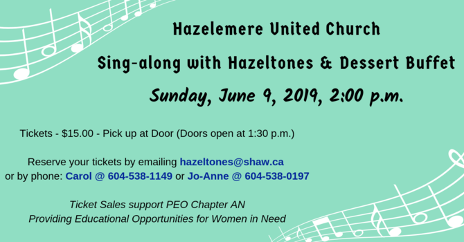 Hazelmere United Church Sing-along & Dessert Buffet image