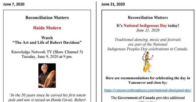 Reconciliation Matters - Bulletin inserts from 2019-2020 image