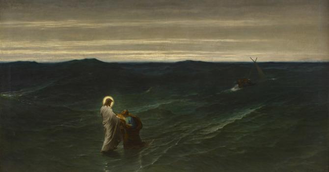 Jesus walks on water image