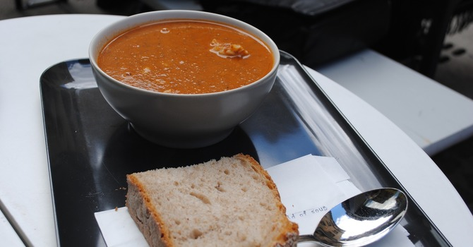 Soup and bun lunch