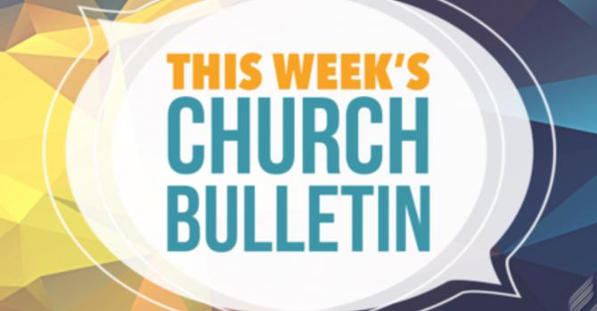 Weekly Bulletin May 12, 2019
