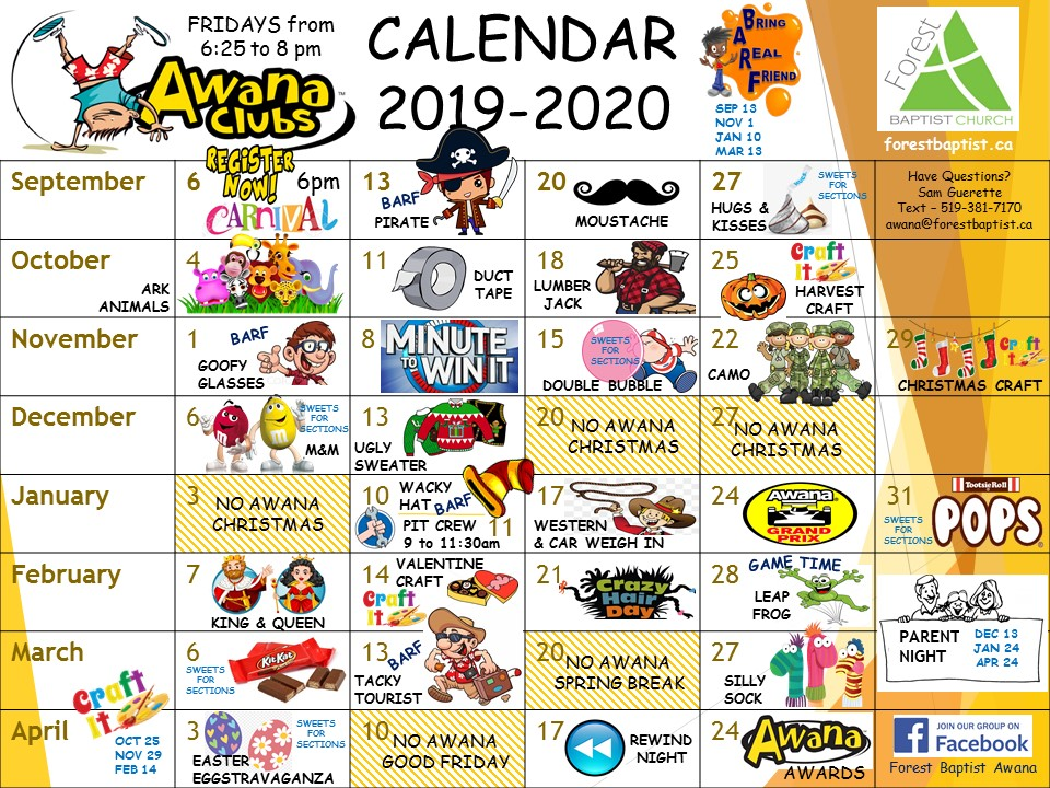 2019-2020 Awana Calendar