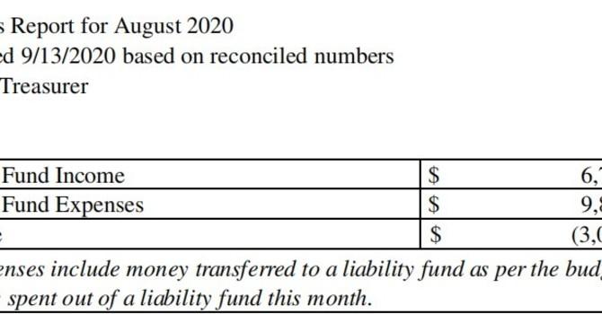 August 2020 Treasurer's Report image