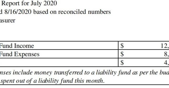 July 2020 Treasurer's Report image