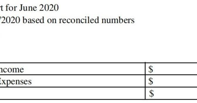 June 2020 Treasurer's Report image