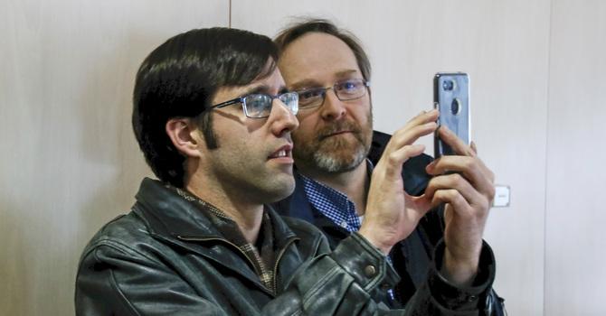 Faith Community Members Interact with Virtual Nativity Scene image