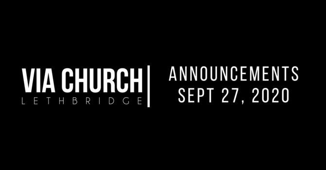 Announcements - Sept 27, 2020 image