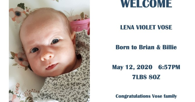 Brian and Billie Welcome baby Lena image