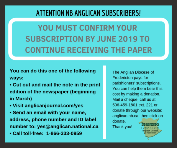 Important notice for all NB Anglican subscribers!