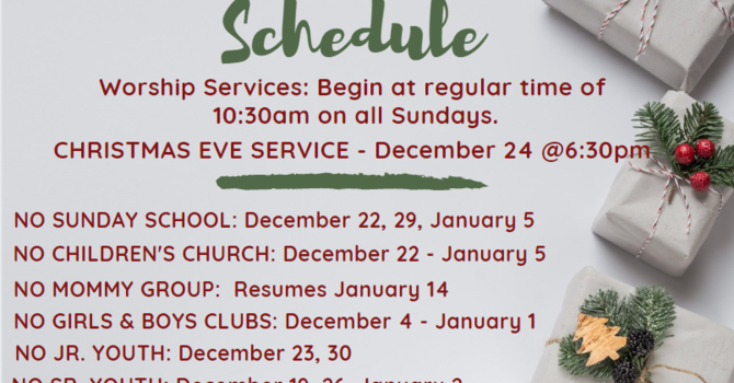 Christmas Schedule image