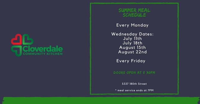 Summer Meal Schedule image