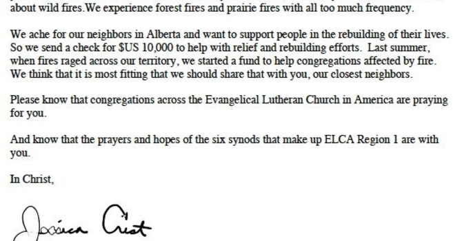 Wildfire support from US Lutherans image