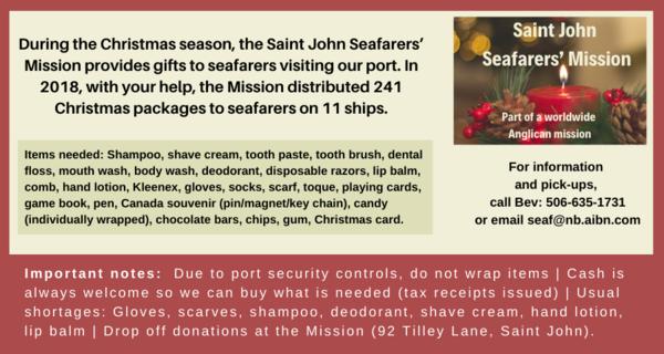 Saint John Seafarers' Mission Christmas appeal