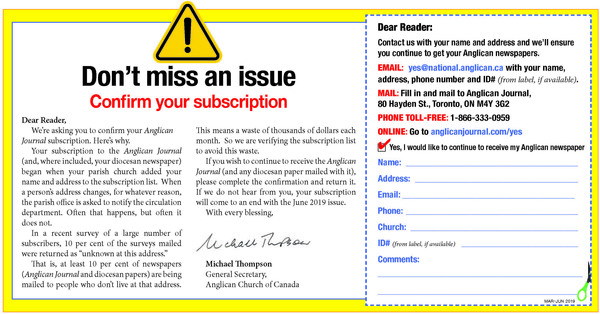Anglican Journal and Messenger Readers Asked to  Confirm Subscription