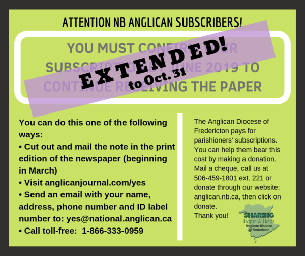 Attention NB Anglican subscribers!