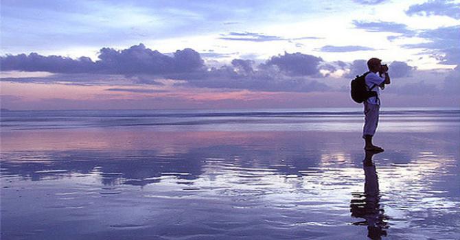 Walking on water. image