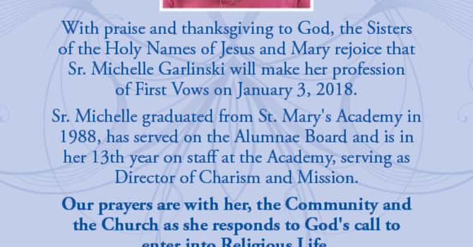 Congratulations Sister Michelle! image