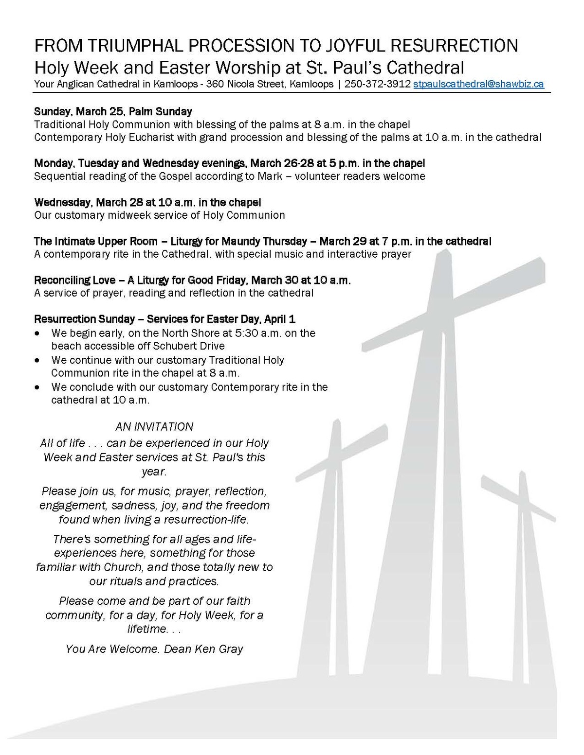 Worship for HOLY WEEK AND EASTER at St  Paul's Cathedral