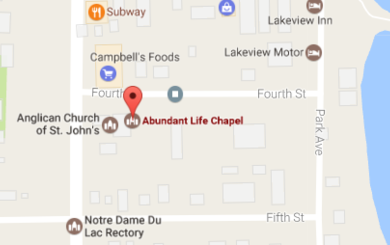 Map to Abundant Life Chapel in Lac du Bonnet, MB
