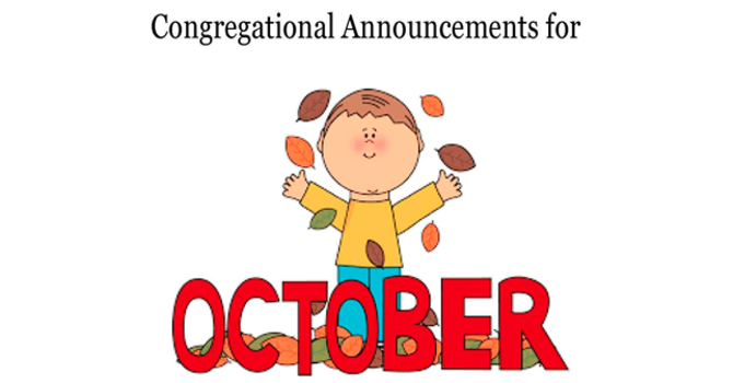 Congregational Announcements - October 2017 image