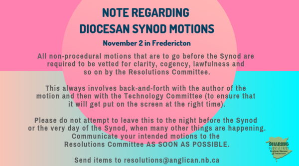 Diocesan Synod Resolutions