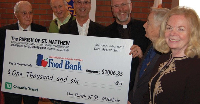 Abbotsford Food Bank Receives a Cheque from The Parish of St. Matthew image