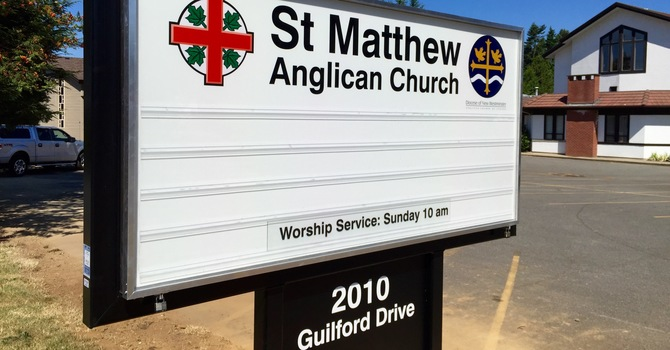 St. Matthew's new sign construction is complete! image