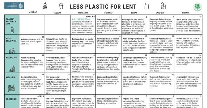 Less Plastics for Lent Calendar image