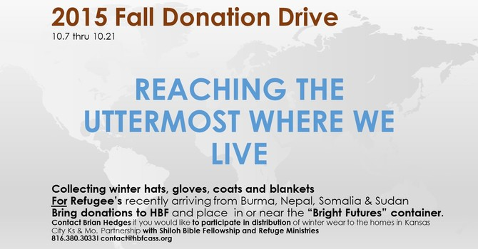 Reaching The Uttermost Where We Live - 2015 Fall Donation Drive image