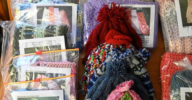 Handmade knitted items for Christmas image