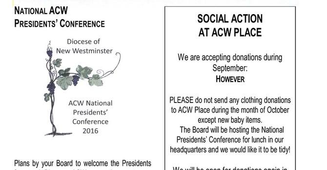 ACW Newsletter for September 2016
