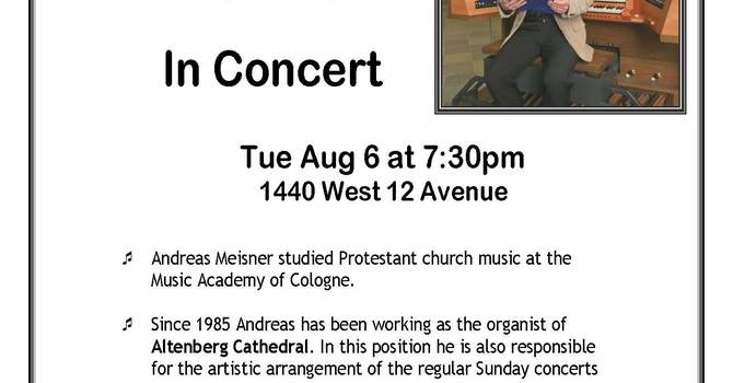Organ Recital at Holy Trinity, Vancouver August 6th, 2013 image