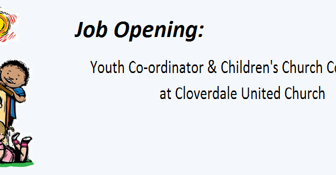 Job Posting: Youth Co-ordinator & Children's Church Co-ordinator (CUC) image